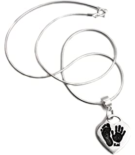 503edf0a7 BabyRice Solid Silver Hand and Footprint Heart Pendant with Connector and  Snake Chain