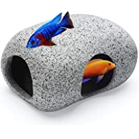 Aquarium Hideaway Rocks for Small Fishes, Shrimps to Breed, Play and Rest, Safe and Non-Toxic Ceramic Fish Tank…