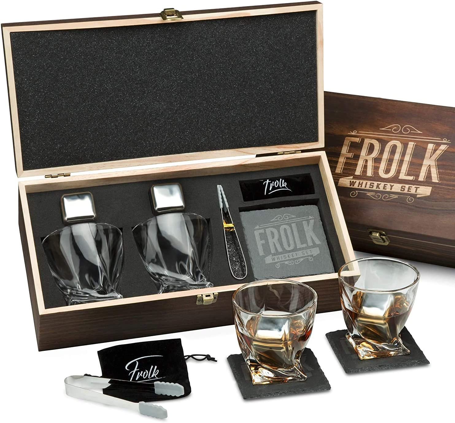 Whiskey Stones & Glasses Gift Set for Men & Women – 2 King-Sized Chilling Stainless-Steel Whiskey Cubes - 11 oz 2 Large Twisted Whiskey Glasses, Stone Coasters, Tongs – Luxury Set in Real Wood Box
