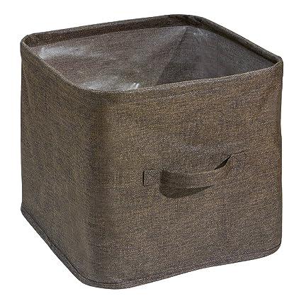 mDesign Caja organizadora para armarios y cajones – Práctico cesto de tela con asas para guardar