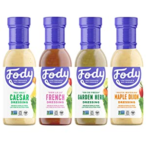 Fody Foods Vegan Variety Salad Dressing Pack   Low FODMAP Certified   Gut Friendly No Onion No Garlic   IBS Friendly Kitchen Staple   Gluten Free Lactose Free Non GMO   4 Bottles, 8 Ounce