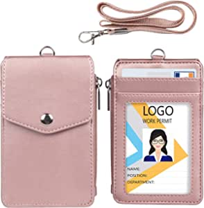 Metal Clip for Offices ID Driver Licence School ID Badge Holder Wallet- Durable ID Card Holder with Heavy Duty Breakaway Lanyard Holds 1-4 Cards Black Wallet