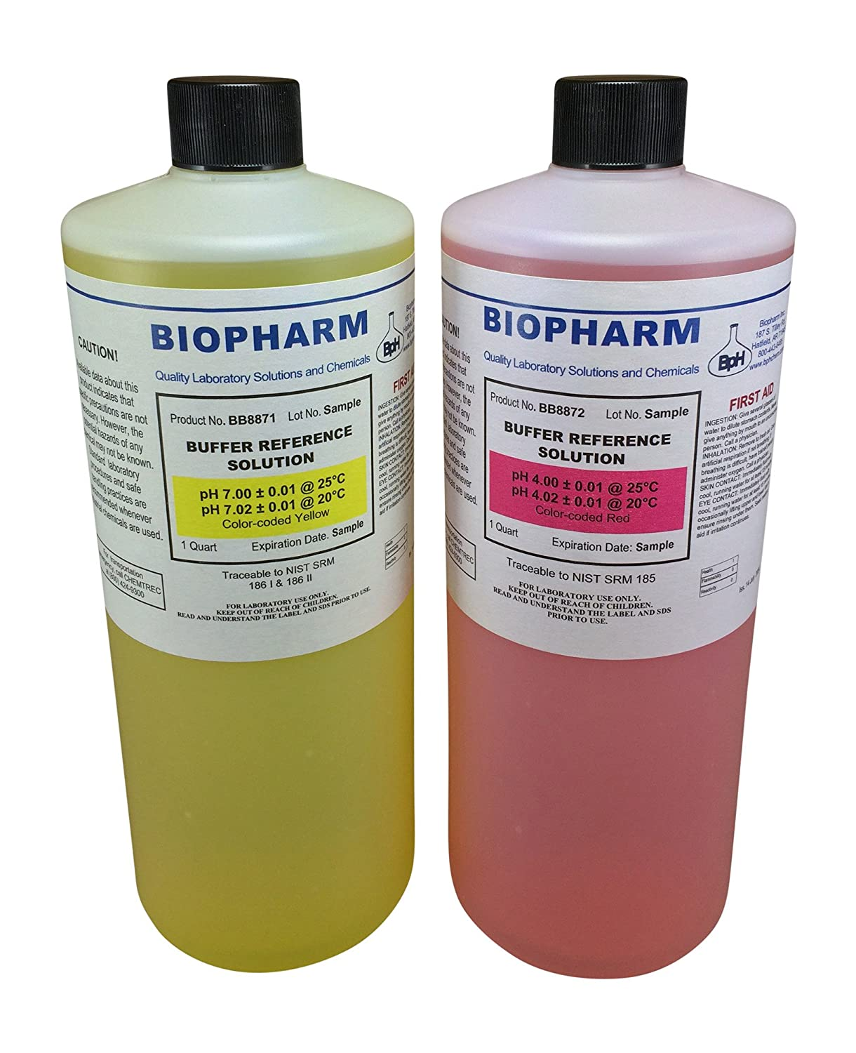 Biopharm pH Buffer Calibration Solution 2-Pack   Quart (1 L) Bottles   pH 4.00 and pH 7.00   NIST Traceable Reference Standards for All pH Meters   Color Coded