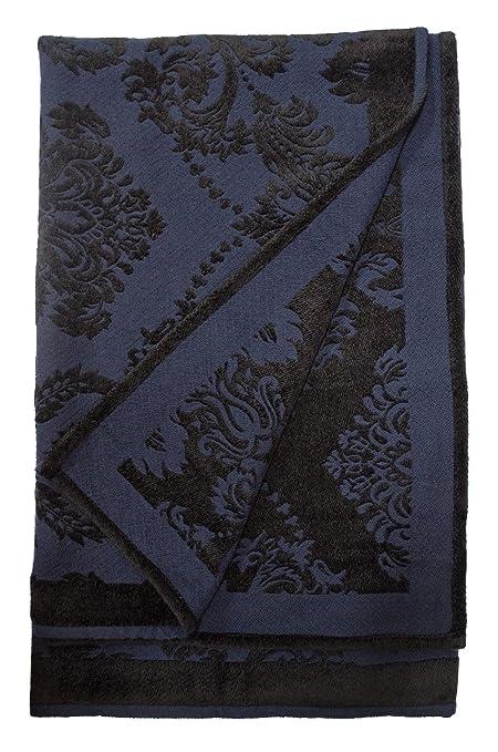 Amazon Floral Damask Chenille Throw Blanket Black Navy Blue Enchanting Black Chenille Throw Blanket