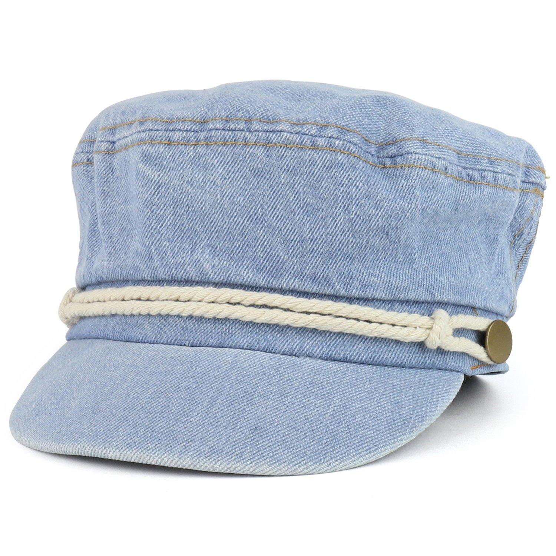 Trendy Apparel Shop Greek Style Washed Denim Fisherman Cabbie Hat - Blue