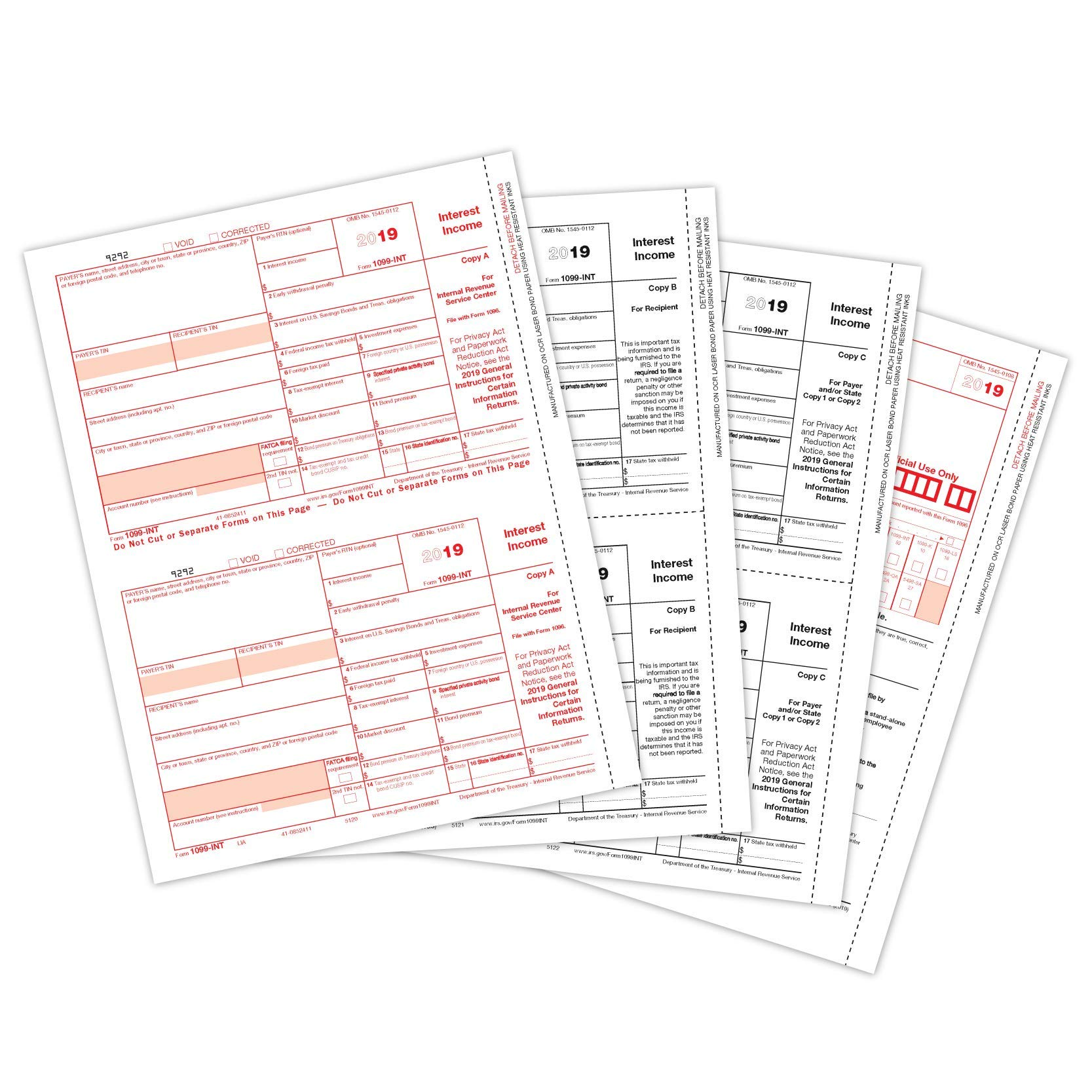 2019 1099 INT 4 Part Tax Forms, 25 Laser Form Sets for Interest Income, Designed for QuickBooks and Accounting Software, 25 Pack by Blue Summit Supplies