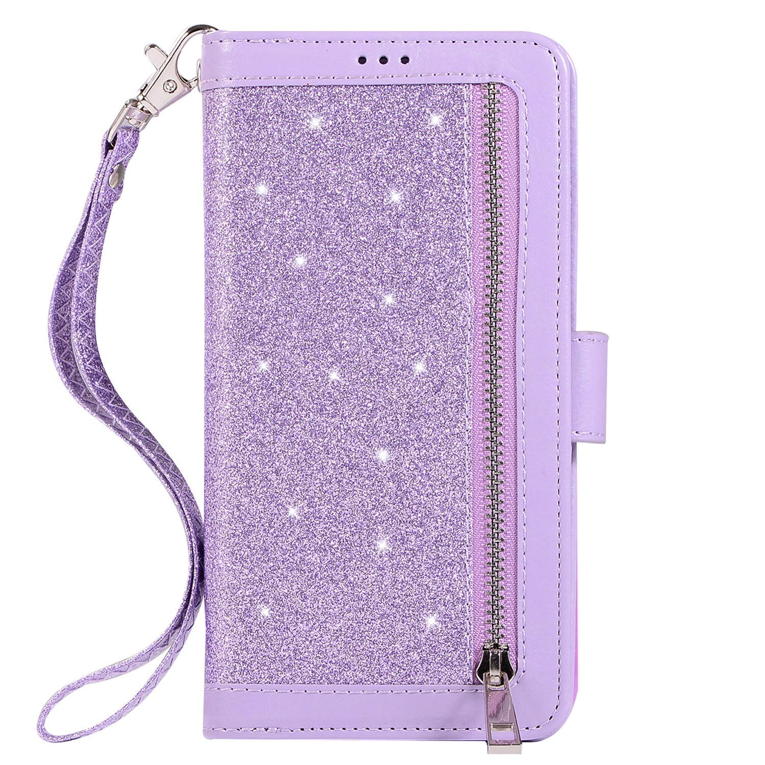 Herbests Compatible with Huawei P20 Lite Wallet Case Luxury Bling Glitter Multi-Functional Zipper Leather Flip Cover 9 Credit Card Holders Magnetic Purse Cover with Wrist Strap,Purple by Herbests
