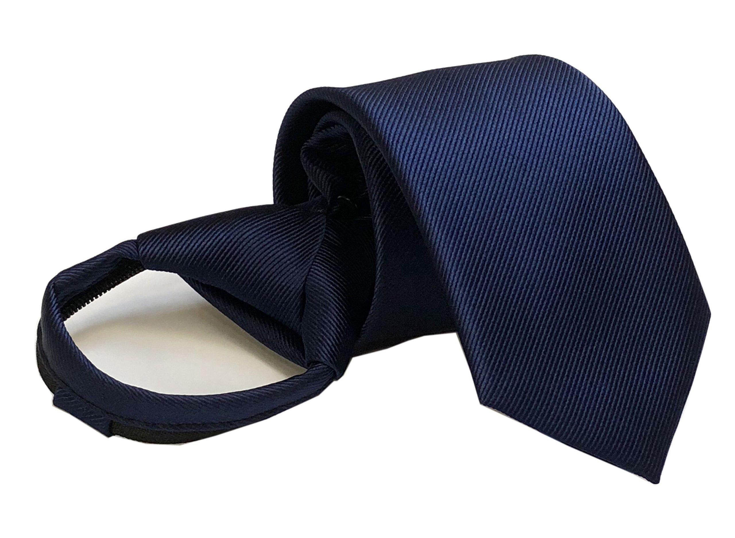 Mens Big Boys Navy Blue Zipper Ties Stylish Elegent Formal Necktie Best for Gift
