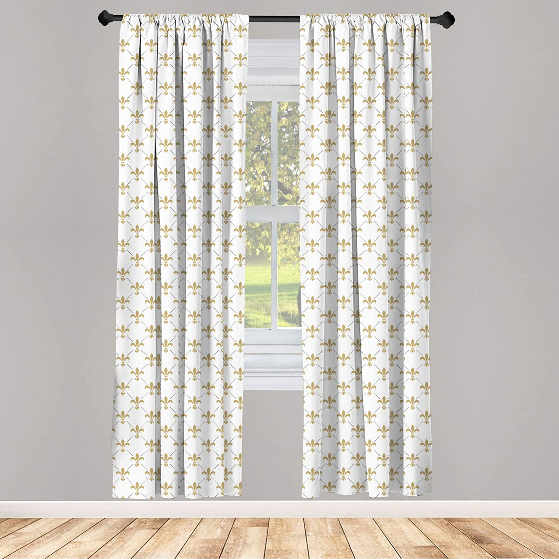 Ambesonne Fleur De Lis 2 Panel Curtain Set, Fleur De Lis Pattern Vintage Flower Royal Design, Lightweight Window Treatment Living Room Bedroom Decor, 56