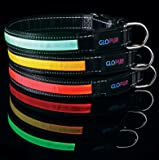 LED Dog Collar - Glow In The Dark - Makes Your Dog Visible And Safe At Night - Reflective Stitching - Available in Red, Green Yellow and 4 Sizes