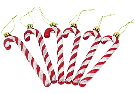 christmas concepts pack of 6 13cm red white glitter candy cane christmas tree