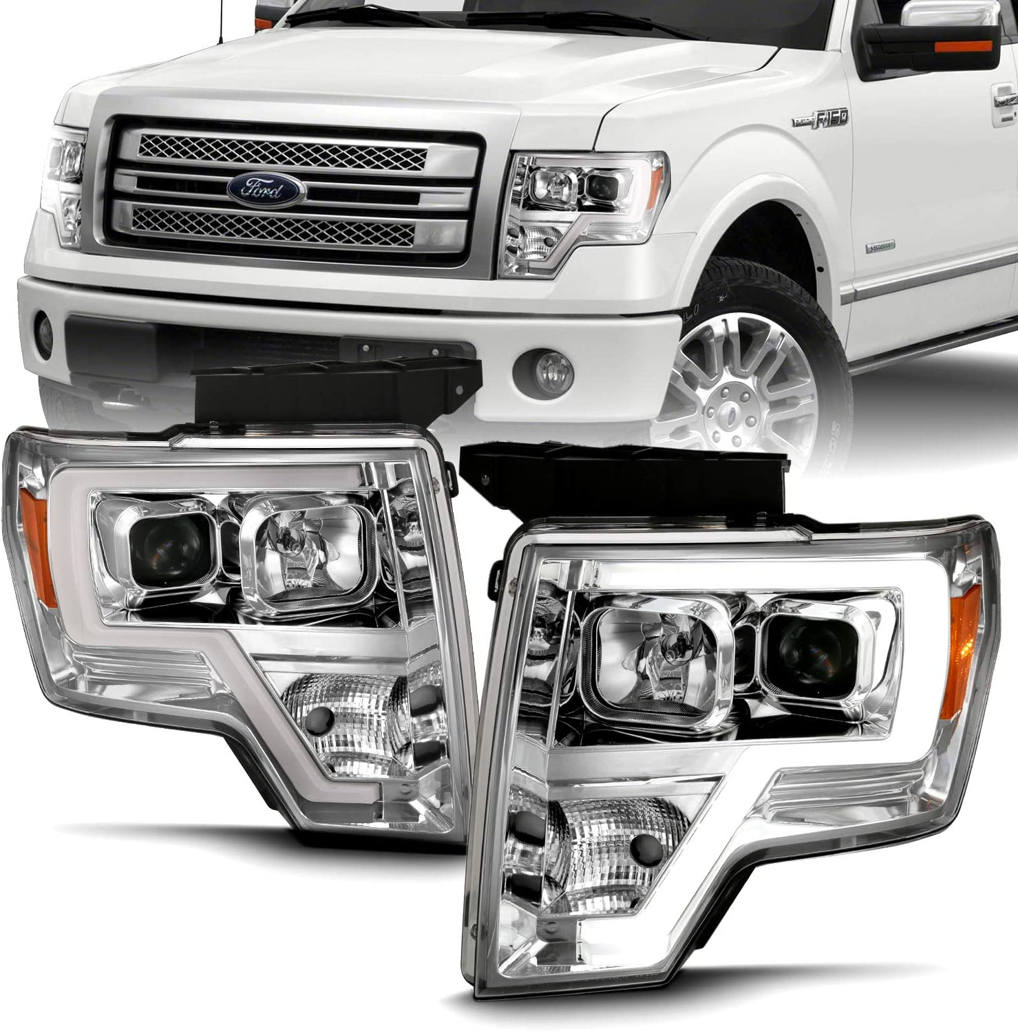 Amazon Com Amerilite Chrome Projector Headlights Led Bar Set For Ford F150 Pair High Low Beam Bulb Included Automotive