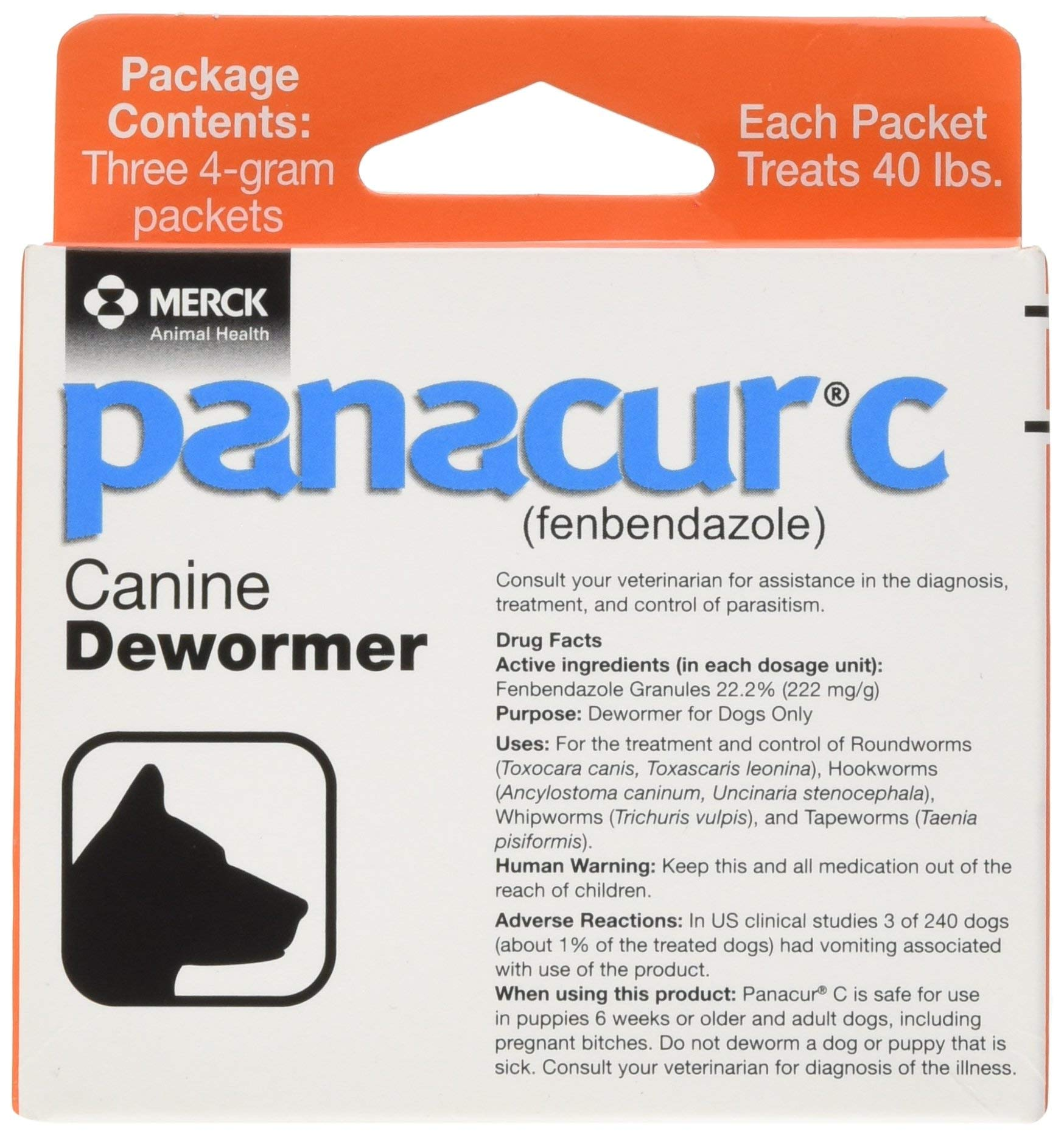 Panacur C Canine Dewormer, Net Wt. 12 Grams, Package Contents Three, 4 Gram Packets. Premium Pack by Panacur