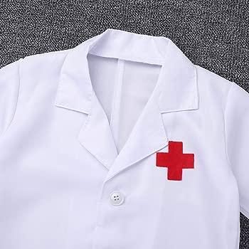 iixpin Unisexo Niño Niña Disfraz Bata Abrigo Manga Larga de Doctor Enfermera Traje Cosplay Disfraz Carnaval Uniforme de Trabajo Conjunto con ...