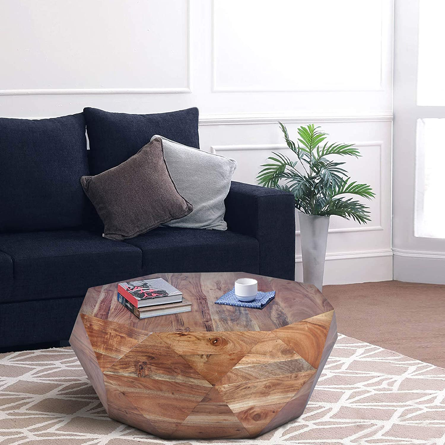 The Urban Port Diamond Shape Acacia Wood Coffee Table with Smooth Top, Natural Brown