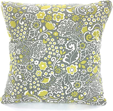 Amazon Com N A Gray Citrine Throw Pillow Covers Grey Citrine Floral Natural Cushions Jen Couch Pillows Throw Pillow Kitchen Dining