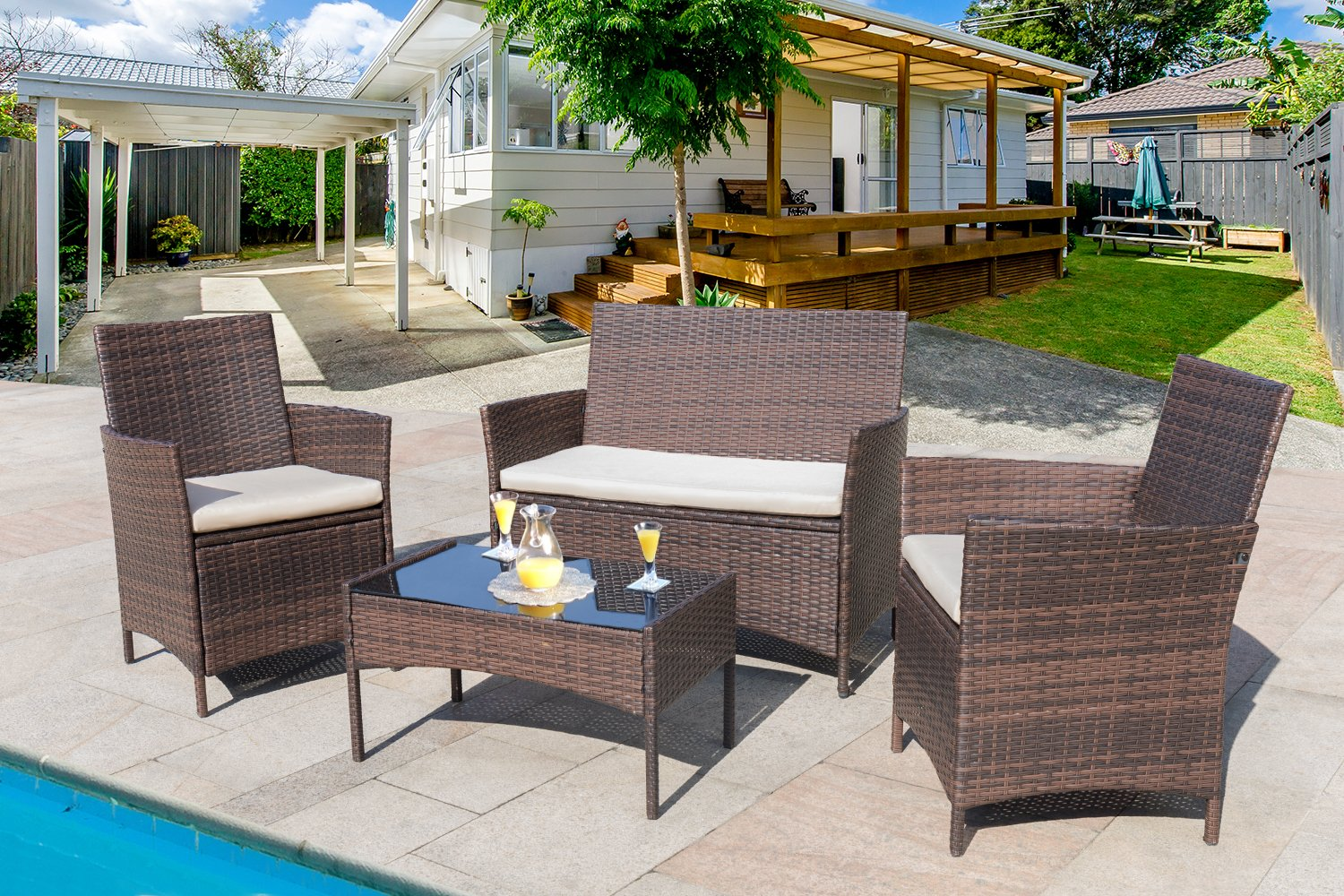Homall 4 Pieces Outdoor Patio Furniture Sets Rattan Chair