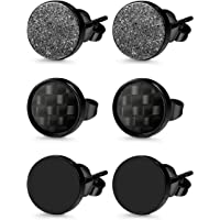 Milacolato 3 Pairs Stainless Steel Stud Earrings for Men Women Black Carbon Fiber Pierced