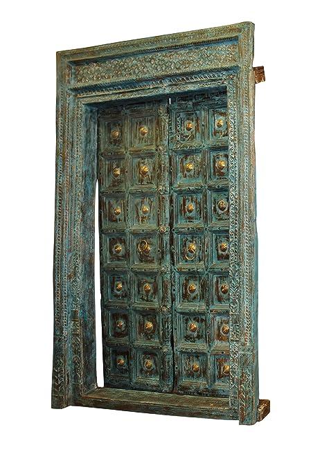 Mogul Interior 18c Indian Architecture Antique Door Frame Solid Teak Wood  Handcarved Vintage Haveli Entrance Double - Amazon.com: Mogul Interior 18c Indian Architecture Antique Door