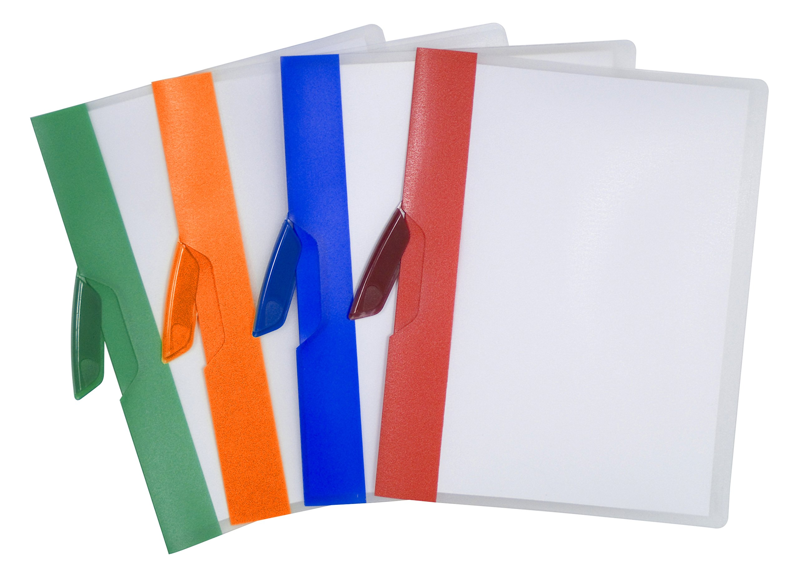 Storex Swing Clip Clear Poly Report Cover, Assorted Color Stripes, Case of 14 (STX51261B14C)