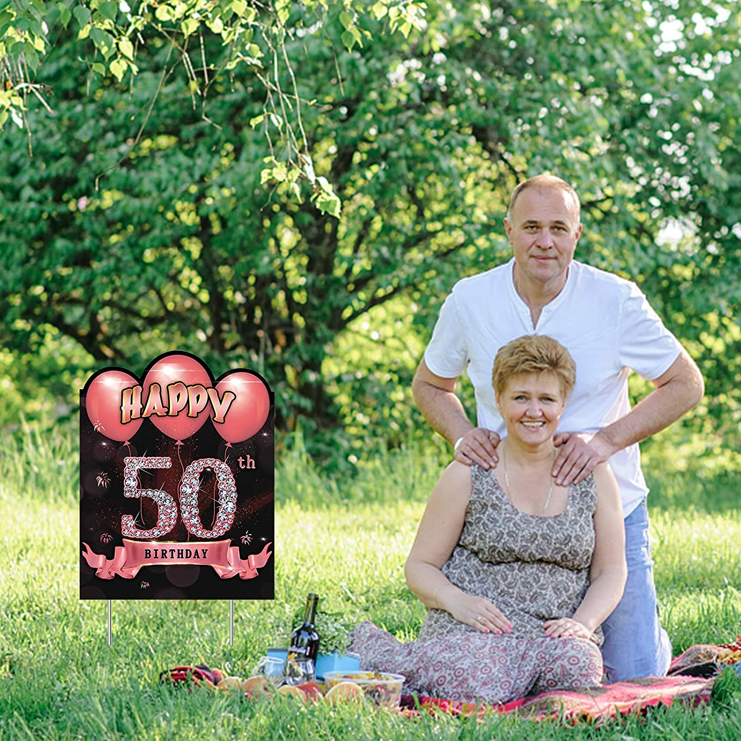 Rose Gold 50 Year Old Birthday Lawn Sign Party Supplies for Women Excelloon 50th Birthday Yard Sign Decorations Happy Fifty Birthday Party Outdoor Yard Signs with Stakes