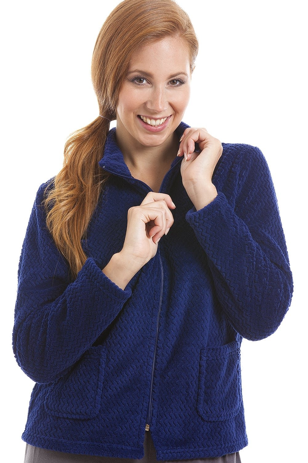 Camille Womens Zip Front Blue Soft Fleece Bed Jacket 6/8 Blue