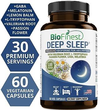 Biofinest Deep Sleep Formula - with Melatonin Lemon Balm Valerian Root L-Tryptophan GABA -