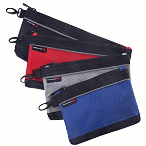 Utility Bag, Zipper Tool Bags Waterproof Heavy Duty in Blue, Grey, Red, Black, 7.5/9/10/12-inches, 1680D, 4 Pieces Tool Bags, ZIP-ZPS-002