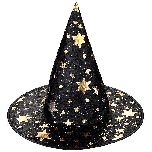 LUX accesorios Halloween sombrero de bruja negro y dorado Star  Amazon.es   Joyería 9decd5e0f88