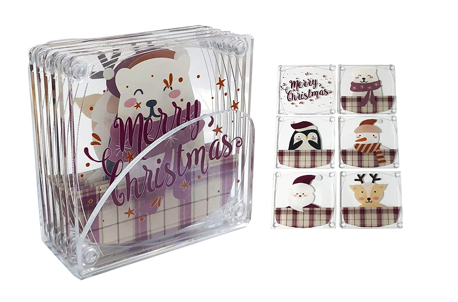 "Idea Design Acrylic 3.5"" Xmas Holiday: Merry Christmas, Polar Bear, Penguin, Snowman, Santa Claus and Reindeer – Assorted Coasters with Clear Acrylic Stand (Set of 6)"