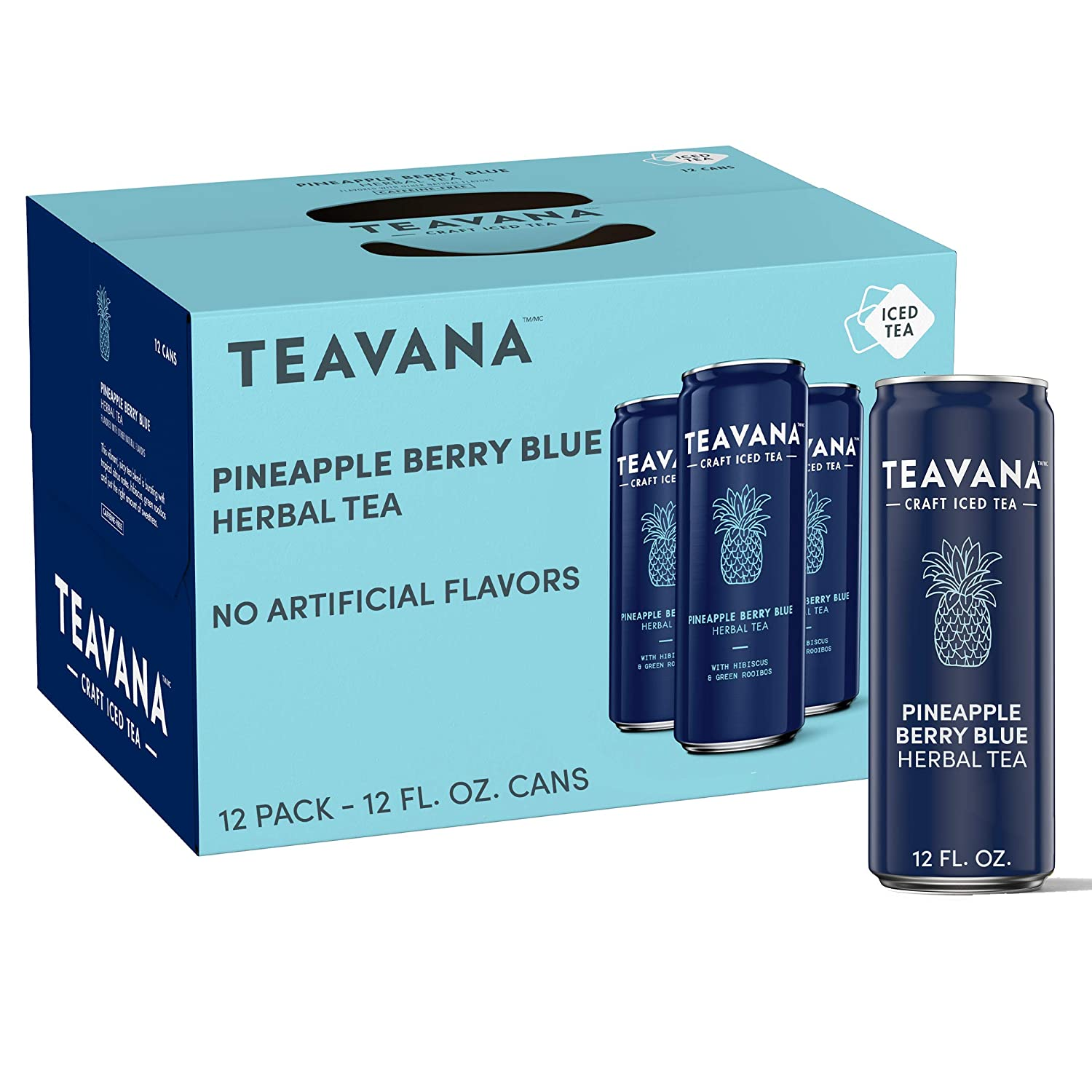 Teavana Craft Pineapple Berry Blue Iced Natural Herbal Tea with Blueberry, Hibiscus Flavor 12 Fl. Oz. Cans (Pack of 12)