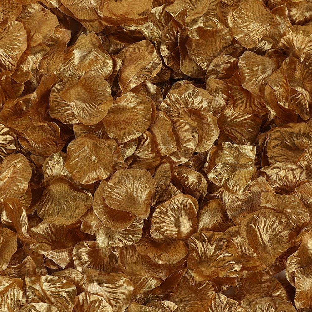 Farbeful Rosenblätter, 5000pcs colorfulife® Künstliche Silk Rose Blütenblatt Blume Bridal Dusche Gastgeschenken für Hochzeit Party Supplies Tabelle Boden Dekoration Aufsteller Konfetti, 37 Farben 15  Gold