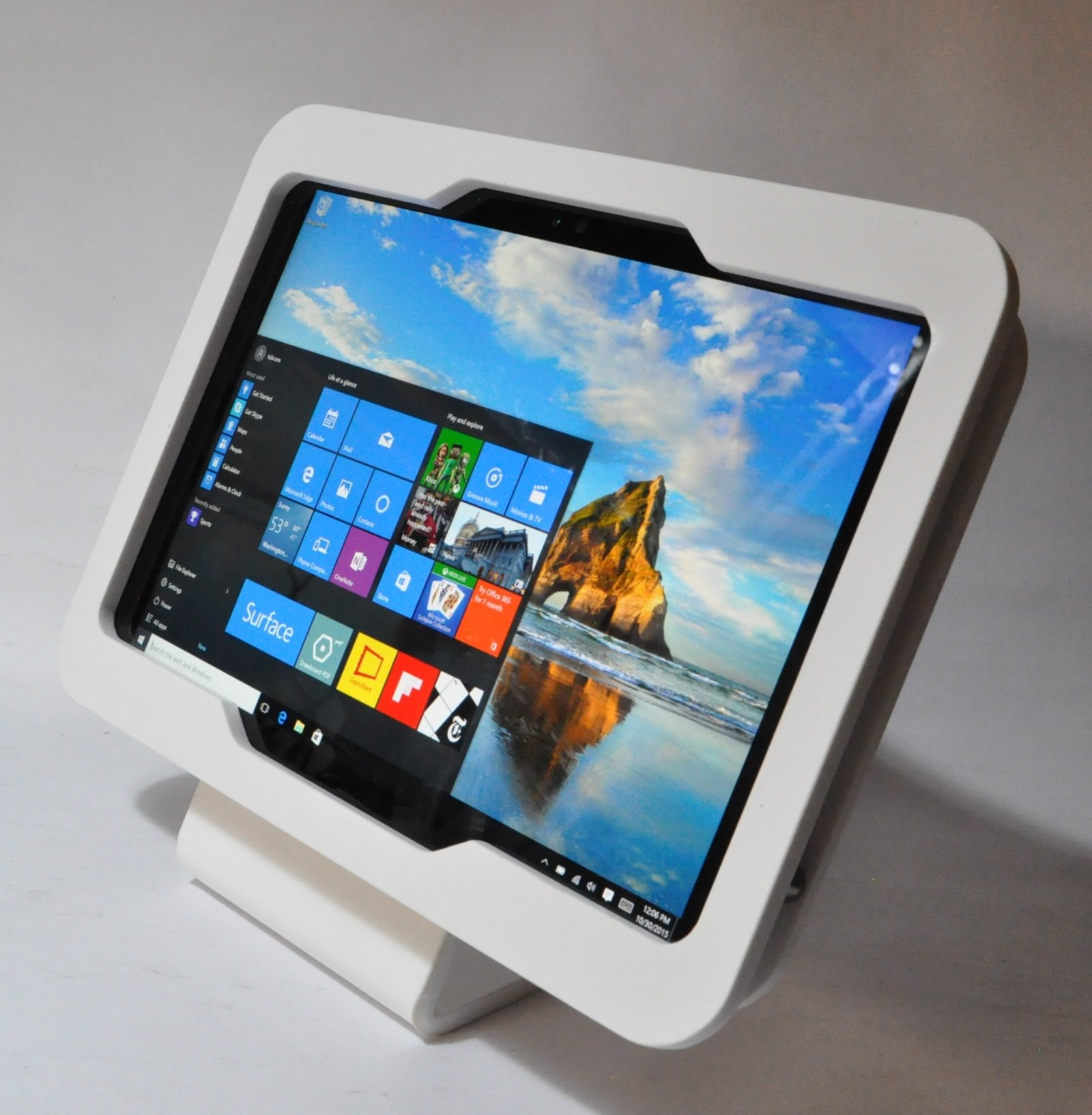 TABcare Compatible MS Surface Pro 3 White Acrylic Desktop Stand for Store Display, Show Display, Kiosk, POS
