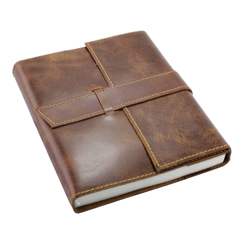 Carnet de Voyage Journal Intime en Cuir - Rechargeable Ecriture Carnet de Notes pour Filles et Garçons avec du Papier Vierge - Vintage Marron A5 16 x 20 cm Creoly CRE-1220