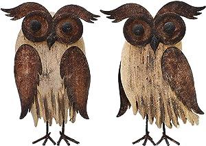 Wood Owl Statues Home Decor Wise Owls Figurine Decor Rustic Decorative Owl Figurines Tabletop Wildlife Bird Owl Statue (8.5