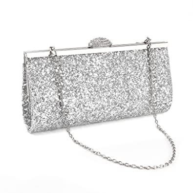 359e75b47770a NEW WOMENS SPARKLY GLITTER CLUTCH BAG SILVER GOLD BRIDAL PROM PARTY PURSE ( Silver)