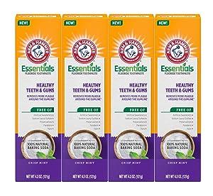 Arm & Hammer Essentials Fluoride Toothpaste Healthy Teeth & Gums , 4.3 OZ , 4 Pack