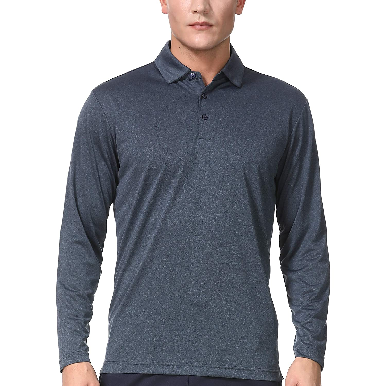 Mens Long Sleeve Polo Shirts Dry Fit Athletic Golf T Shirt For Men