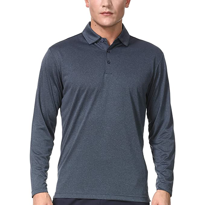 b84e1ed46427d Men's Long Sleeve Polo Shirts Dry Fit Athletic Golf T-Shirt for Men