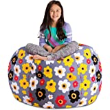 "Posh Stuffable Kids Stuffed Animal Storage Bean Bag Chair Cover - Childrens Toy Organizer, X-Large 48"" - Canvas…"