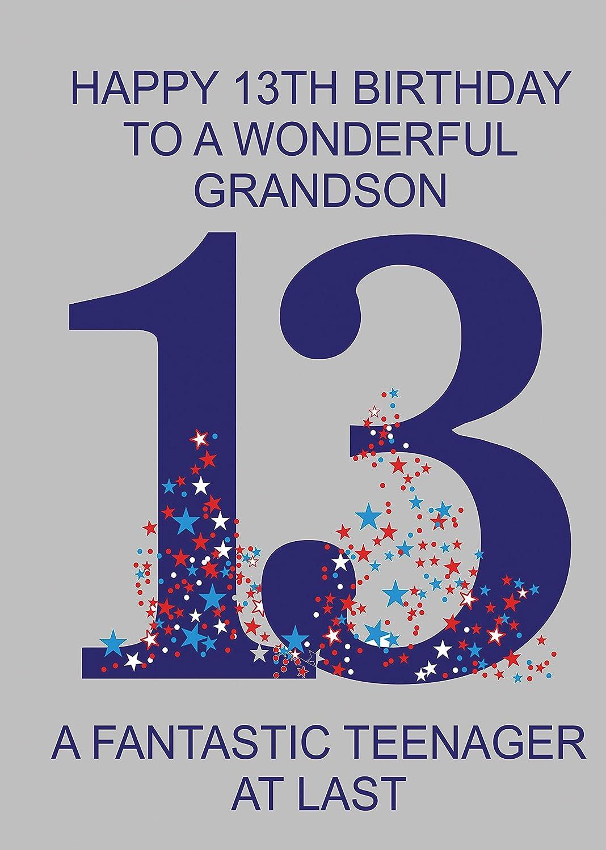 Happy Birthday Grandson 13th BIrthday Card Amazoncouk Office – 13th Birthday Greetings