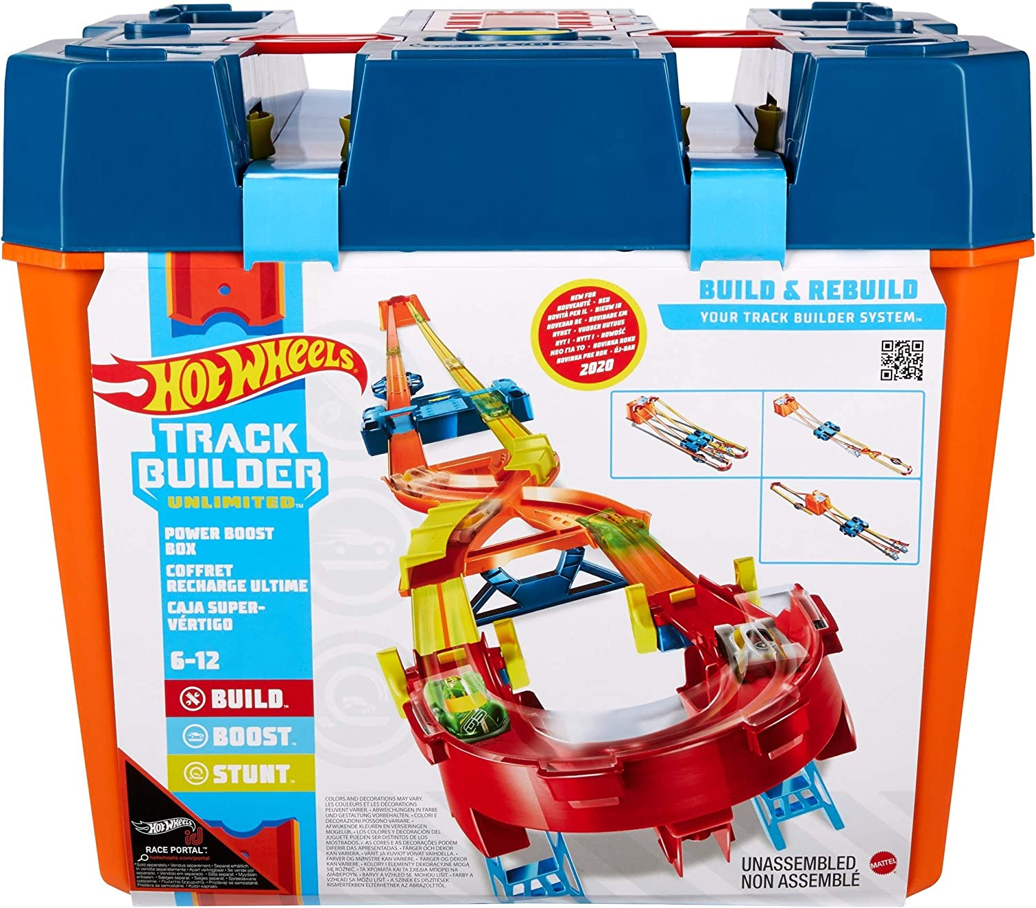 Amazon Com Hot Wheels Track Builder Unlimited Power Boost Box Compatible Id Four Plus Builds 20 Feet Of Track Gift Idea For Kids 6 7 8 9 10 And Older Toys Games