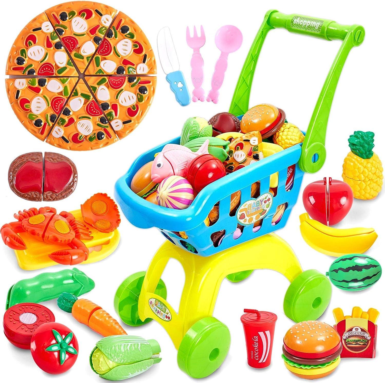 Buyger 2 en 1 Cortar Alimentos Juguete Supermercado Carrito de Compras Juguetes con Frutas y Verduras Pizza Navidad Cumpleaños Regalo para 3 4 5 Años Niños Niñas