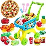Buyger 2 en 1 Supermercado Carrito de Compras Juguetes Comiditas Frutas y Verduras Juguete para Cortar Niños Niñas 3 4 5…