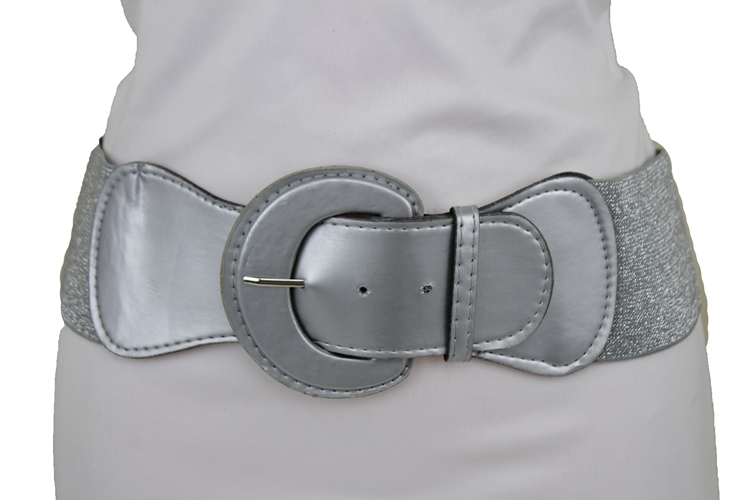 TFJ Women Fashion Stretch Belt High Waist Hip Silver Round Buckle Plus M L XL