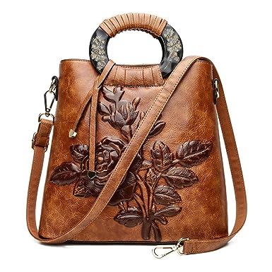 Damentasche Umhängetasche Handtasche Croos-Körper PU Retro Blumen Ethno Für Arbeit Und Shopping,Red-OneSize ADEFG