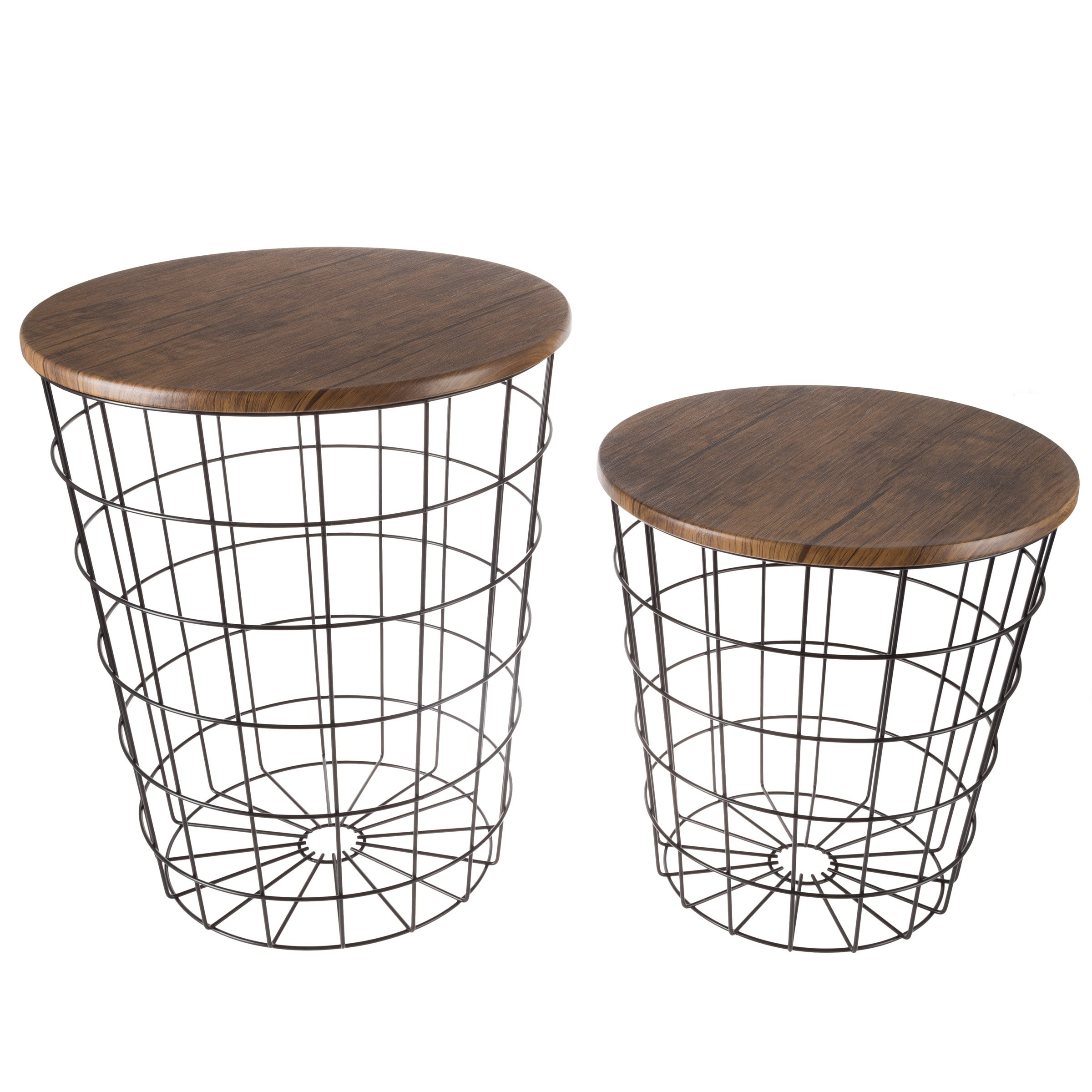 Lavish Home 80-ENDTBL-2 (Set of 2 Nesting End Storage Convertible Round Metal Basket Wood Veneer Top Accent Side Tables, Black by Lavish Home