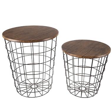 Lavish Home 80-Endtbl-2 Nesting End Tables with Storage, Black