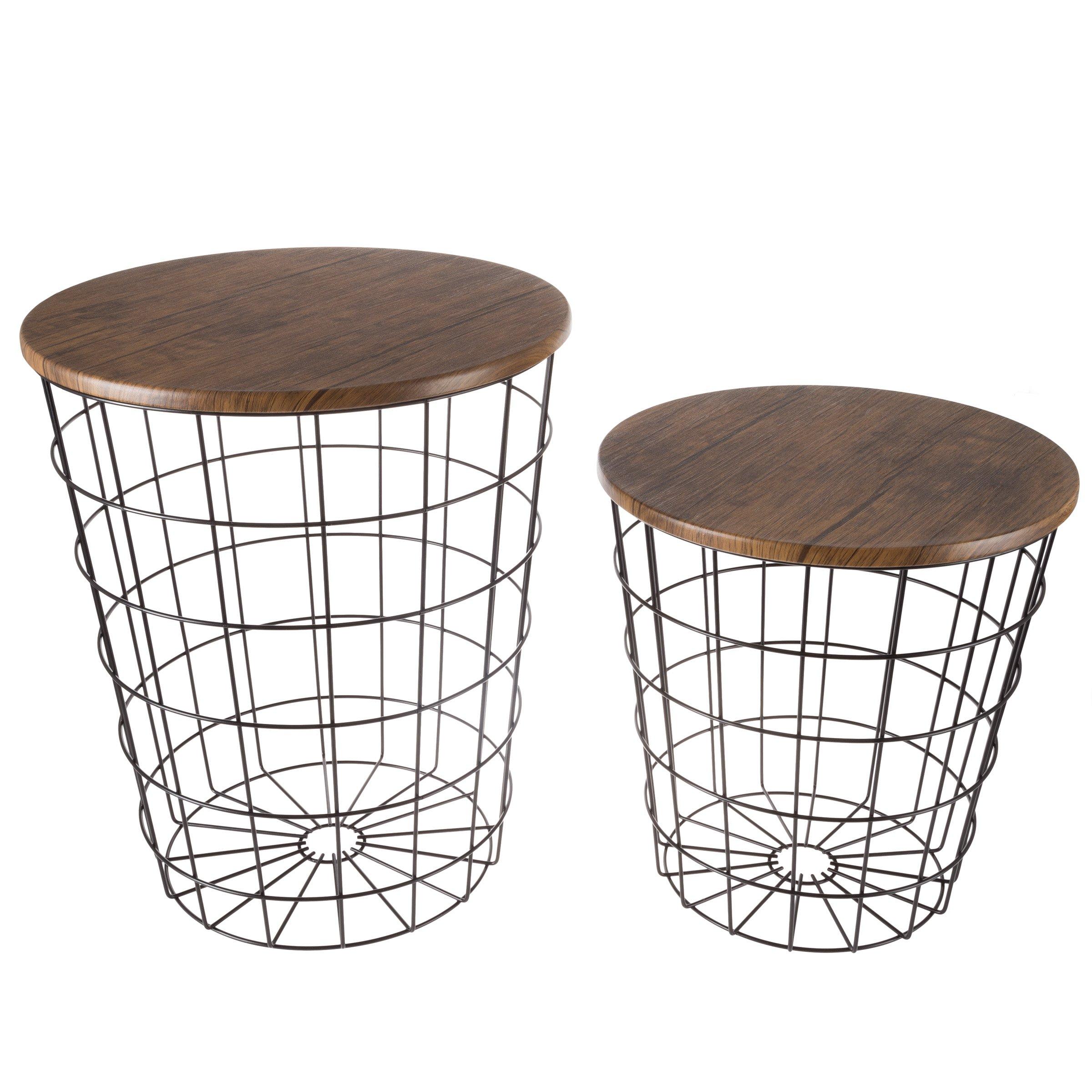 Lavish Home 80-Endtbl-2 (Set of 2) Nesting End Storage Convertible Round Metal Basket Wood Veneer Top Accent Side Tables, Black
