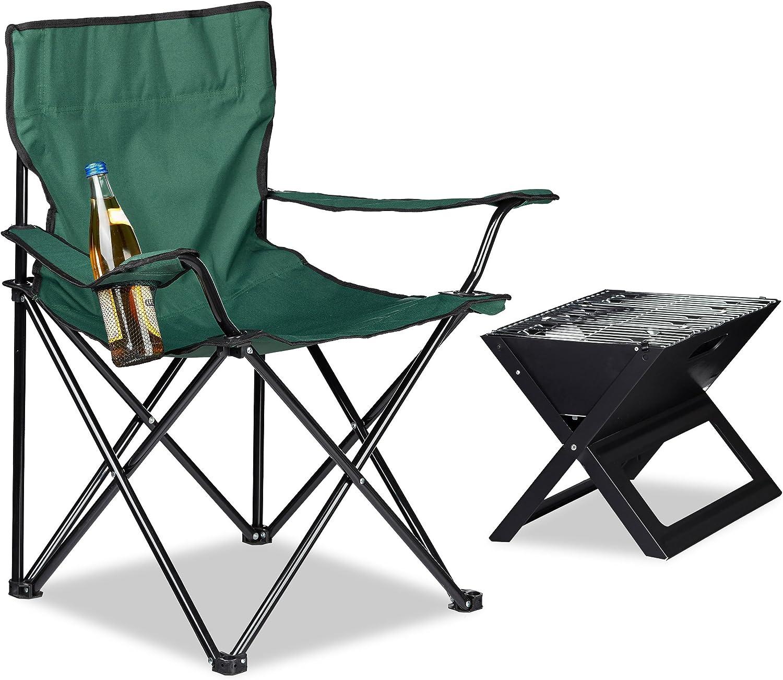 Relaxdays Silla Camping Plegable Acolchada con Reposabrazos, Soporte para Bebidas y Bolsa de Transporte, Acero y Poliéster, 81 x 78 x 50 cm